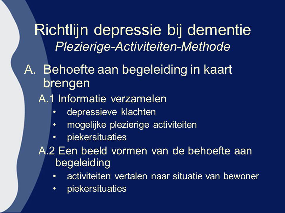 Richtlijn depressie bij dementie Plezierige-Activiteiten-Methode