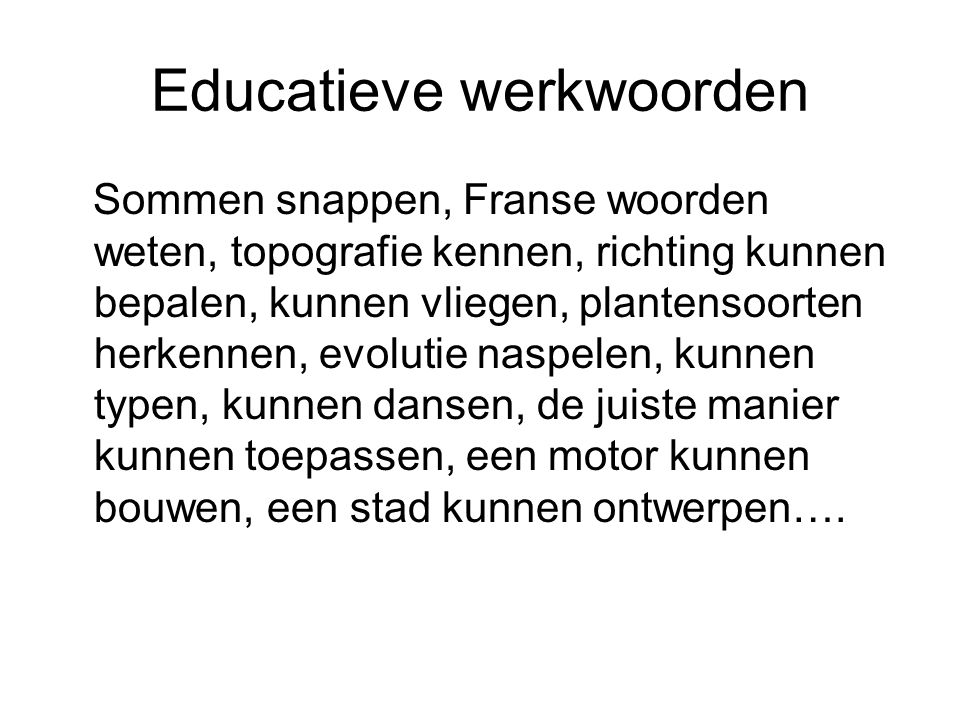 Educatieve werkwoorden