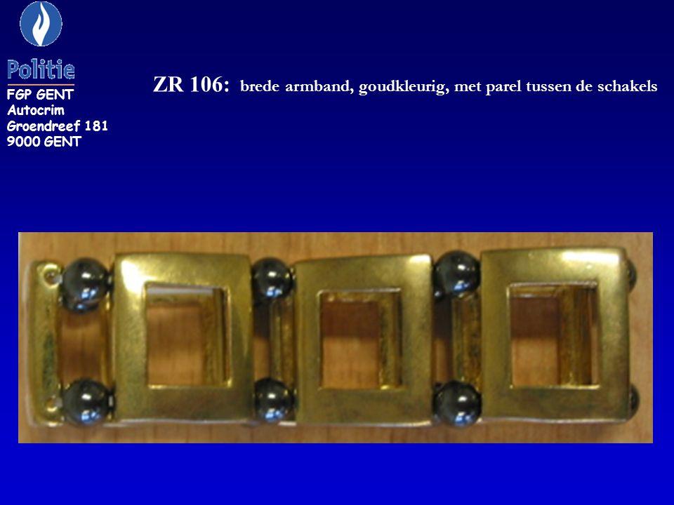 ZR 106: brede armband, goudkleurig, met parel tussen de schakels