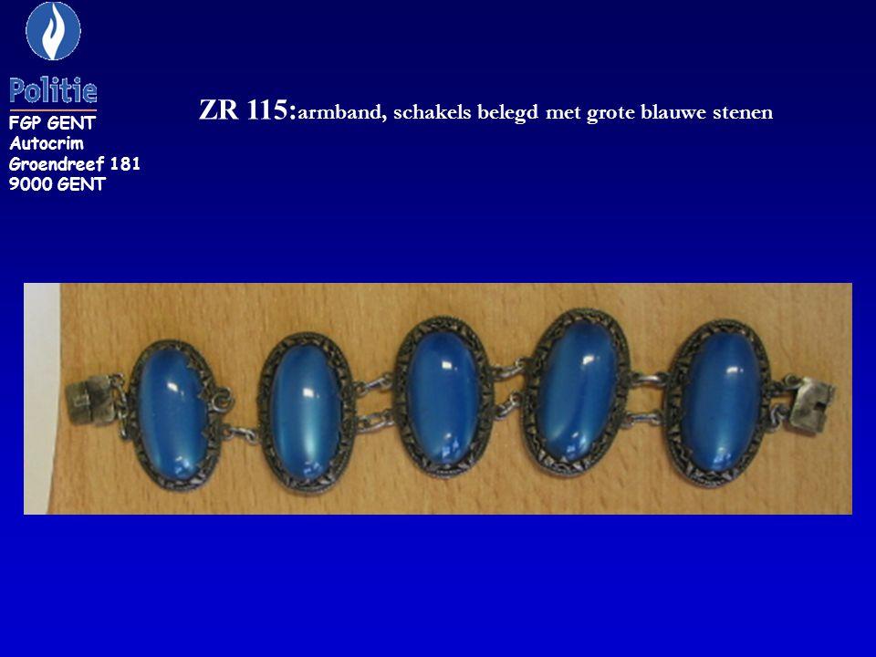 ZR 115:armband, schakels belegd met grote blauwe stenen
