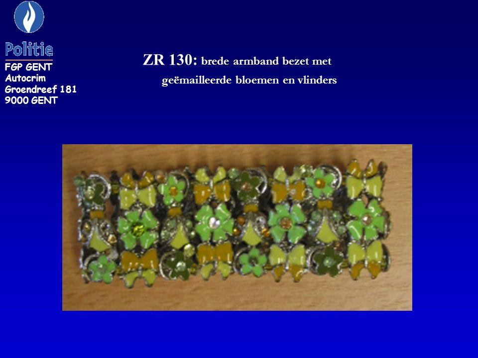 ZR 130: brede armband bezet met geëmailleerde bloemen en vlinders
