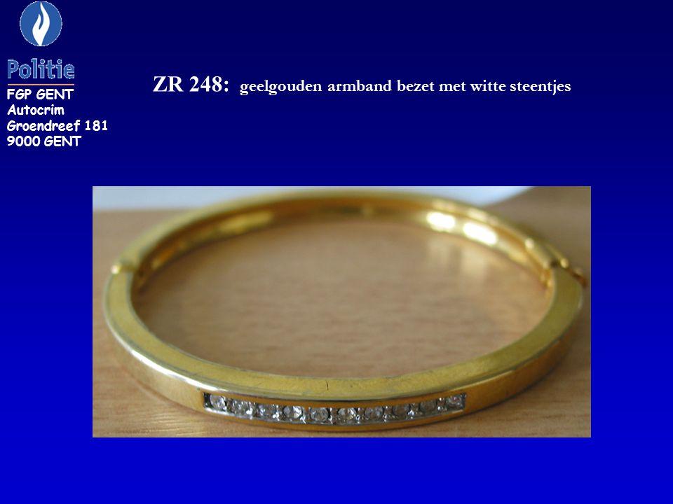 ZR 248: geelgouden armband bezet met witte steentjes