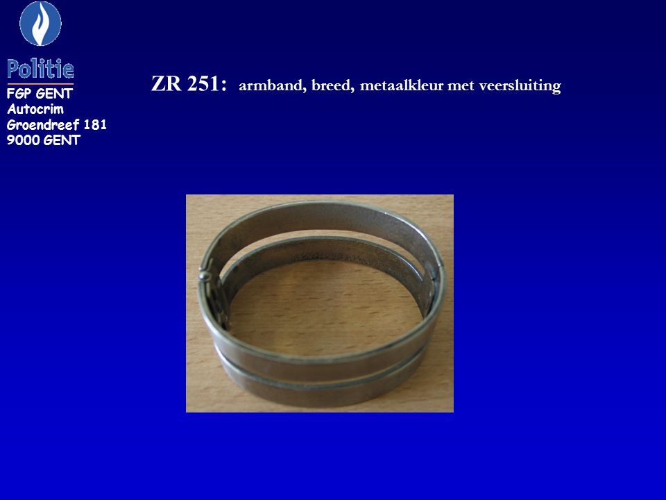 ZR 251: armband, breed, metaalkleur met veersluiting