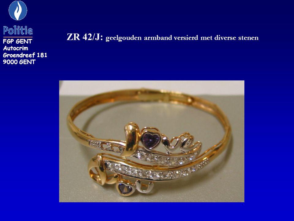 ZR 42/J: geelgouden armband versierd met diverse stenen