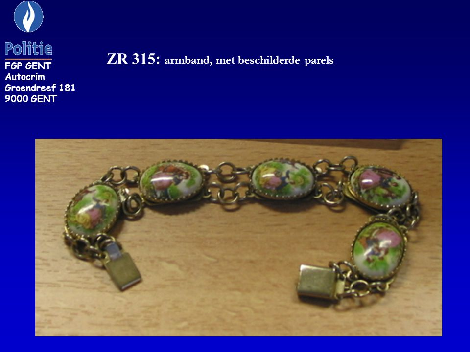 ZR 315: armband, met beschilderde parels