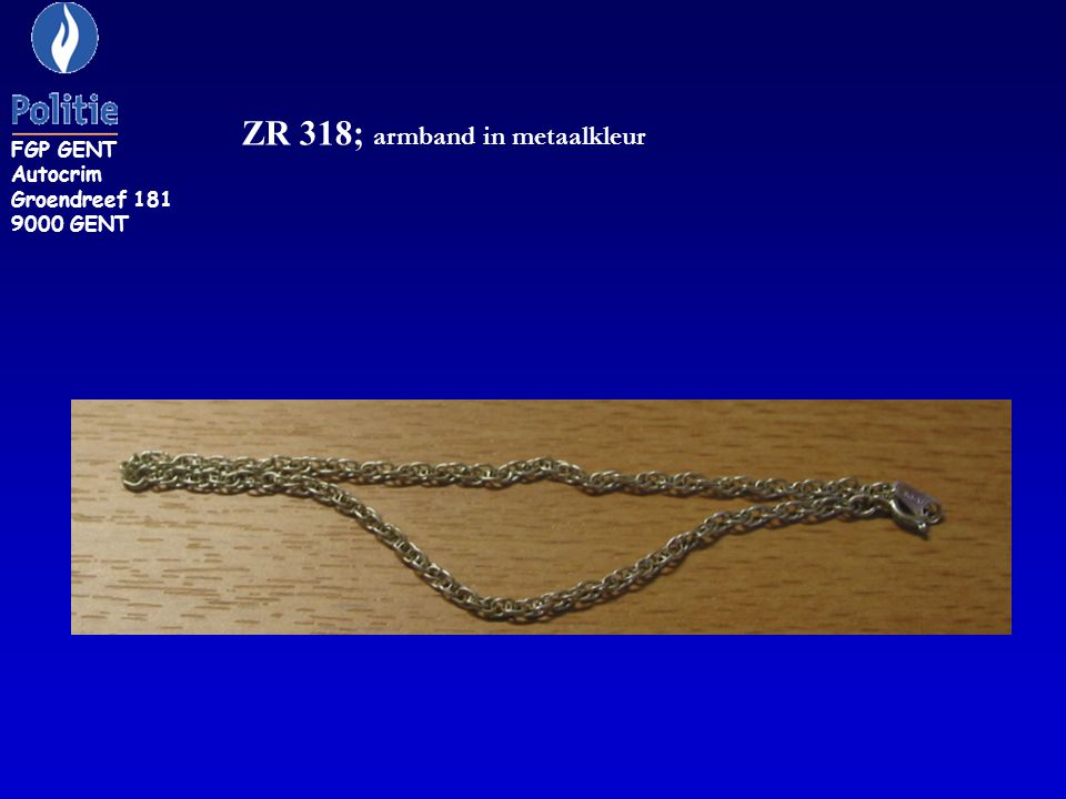 ZR 318; armband in metaalkleur