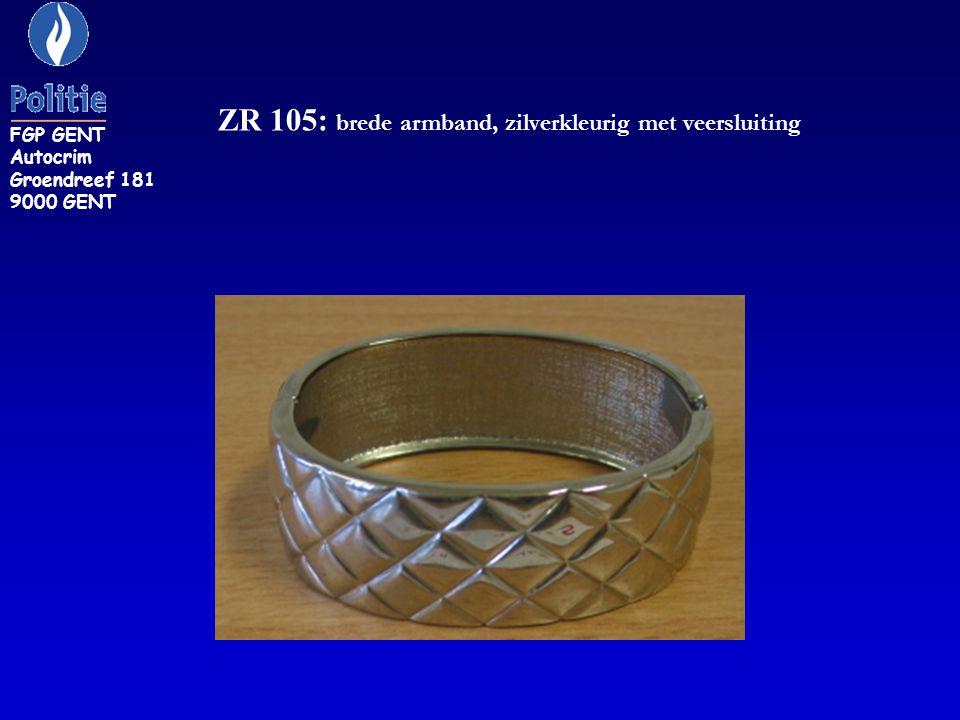 ZR 105: brede armband, zilverkleurig met veersluiting