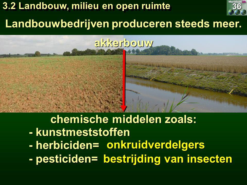 Landbouwbedrijven produceren steeds meer. chemische middelen zoals: