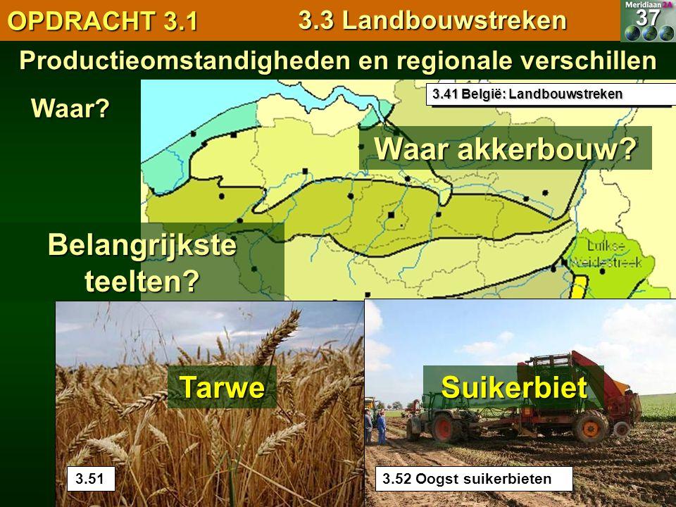 Waar akkerbouw Belangrijkste teelten Tarwe Suikerbiet OPDRACHT 3.1