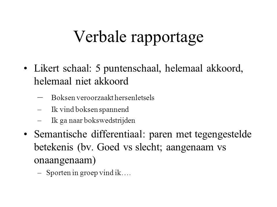 Verbale rapportage Likert schaal: 5 puntenschaal, helemaal akkoord, helemaal niet akkoord. Boksen veroorzaakt hersenletsels.