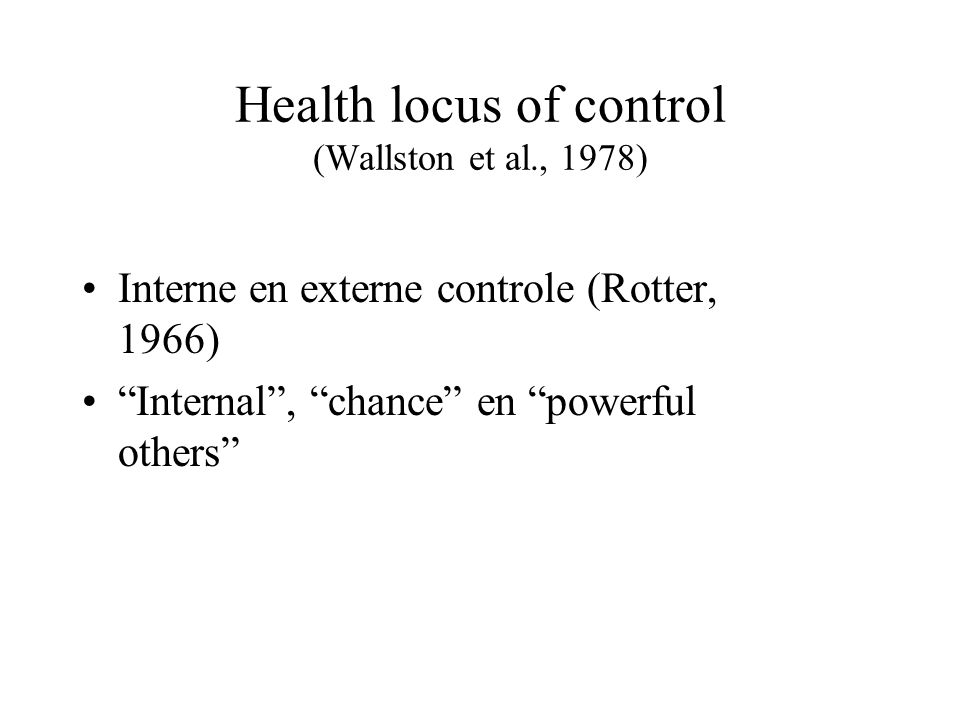 Health locus of control (Wallston et al., 1978)