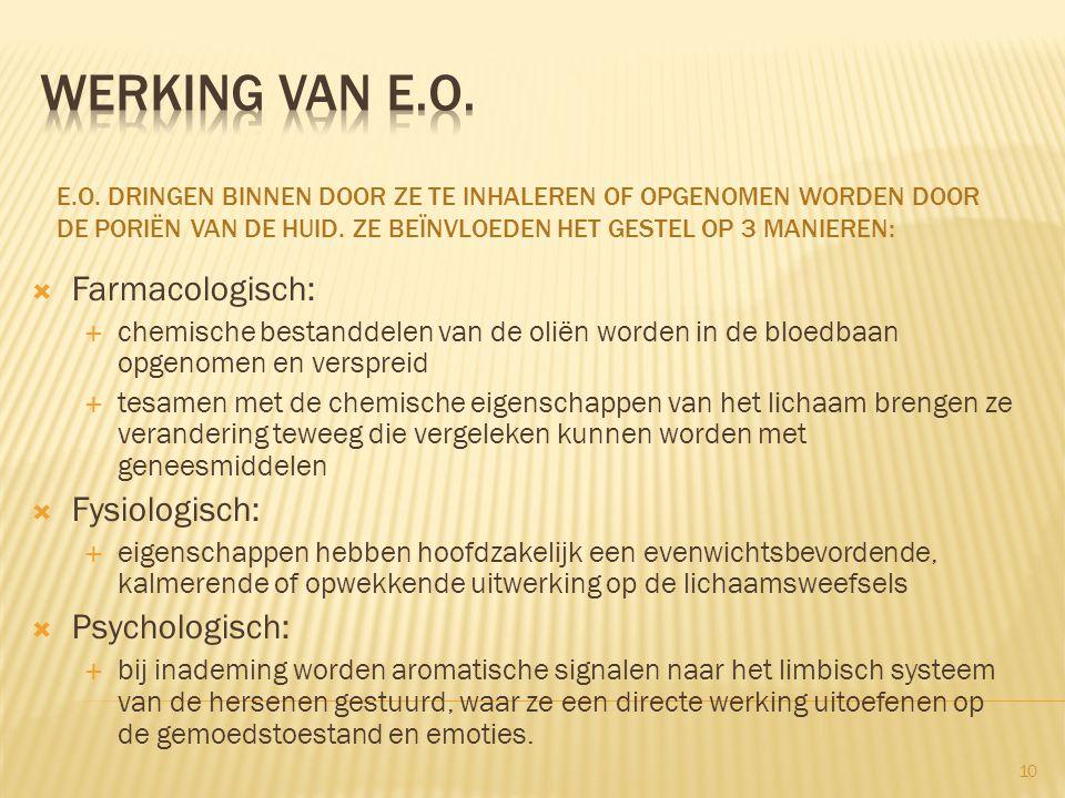 werking van e.o. Farmacologisch: Fysiologisch: Psychologisch: