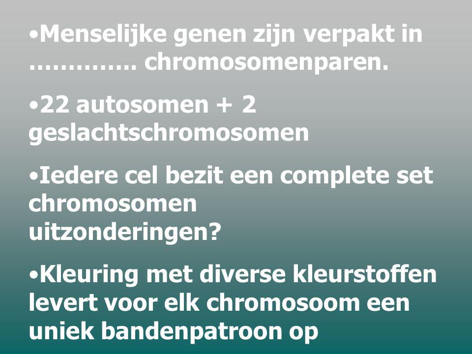 Menselijke genen zijn verpakt in ………….. chromosomenparen.