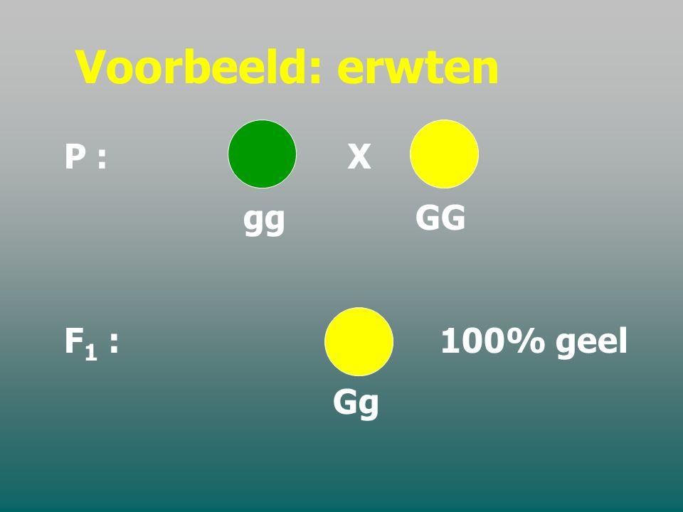 Voorbeeld: erwten P : X. gg GG. F1 : 100% geel.