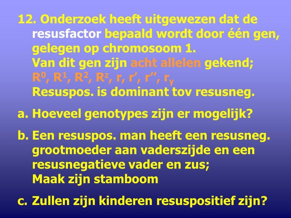 12. Onderzoek heeft uitgewezen dat de resusfactor bepaald wordt door één gen, gelegen op chromosoom 1. Van dit gen zijn acht allelen gekend; R0, R1, R2, Rz, r, r', r'', ry Resuspos. is dominant tov resusneg.
