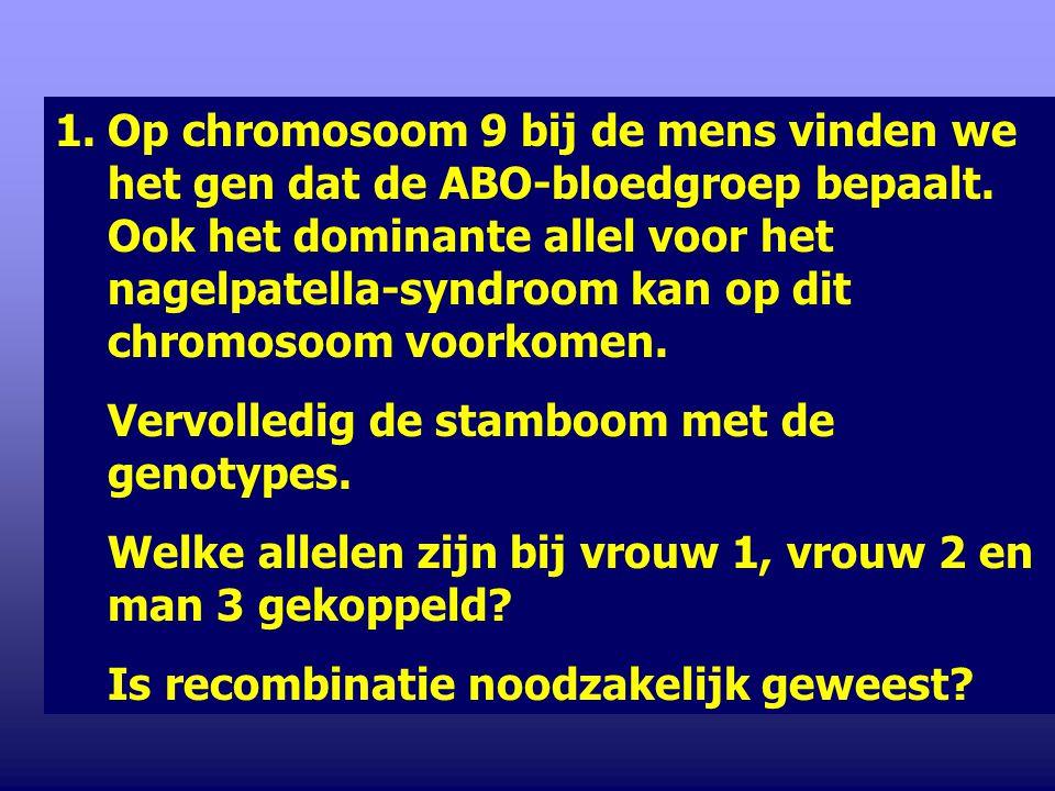 Op chromosoom 9 bij de mens vinden we het gen dat de ABO-bloedgroep bepaalt. Ook het dominante allel voor het nagelpatella-syndroom kan op dit chromosoom voorkomen.