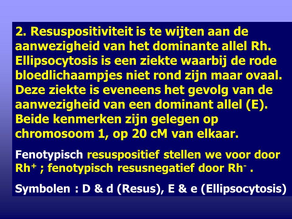 2. Resuspositiviteit is te wijten aan de aanwezigheid van het dominante allel Rh. Ellipsocytosis is een ziekte waarbij de rode bloedlichaampjes niet rond zijn maar ovaal. Deze ziekte is eveneens het gevolg van de aanwezigheid van een dominant allel (E). Beide kenmerken zijn gelegen op chromosoom 1, op 20 cM van elkaar.