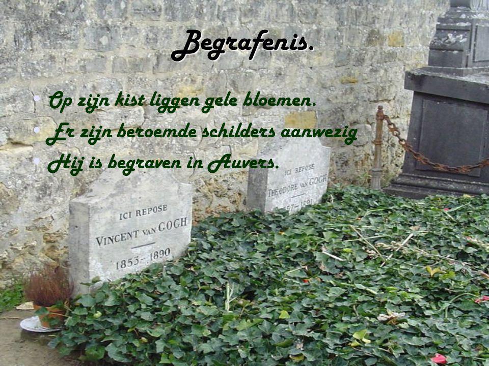 Begrafenis. Op zijn kist liggen gele bloemen.