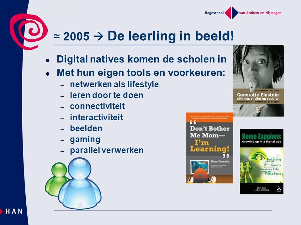 ≃ 2005  De leerling in beeld! Digital natives komen de scholen in