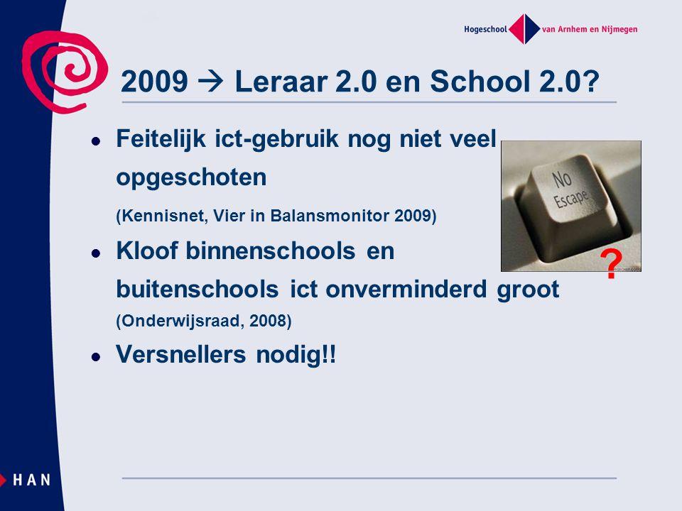 2009  Leraar 2.0 en School 2.0 Feitelijk ict-gebruik nog niet veel