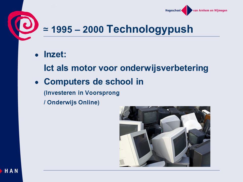 ≃ 1995 – 2000 Technologypush Inzet: