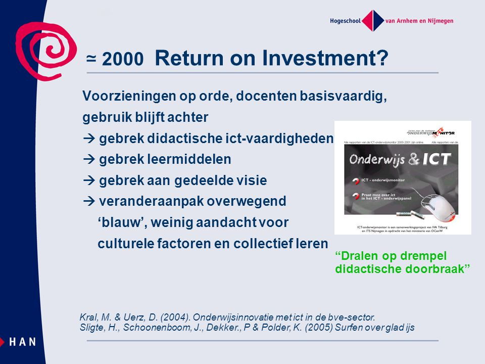 ≃ 2000 Return on Investment Voorzieningen op orde, docenten basisvaardig, gebruik blijft achter.