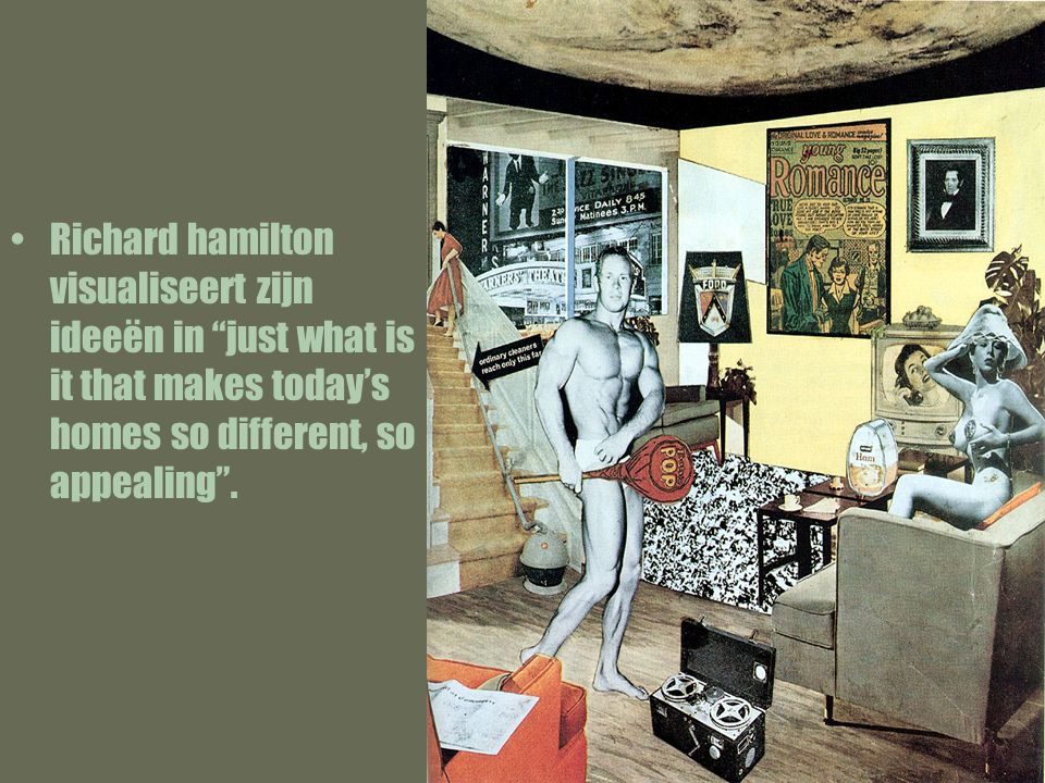 Richard hamilton visualiseert zijn ideeën in just what is it that makes today's homes so different, so appealing .