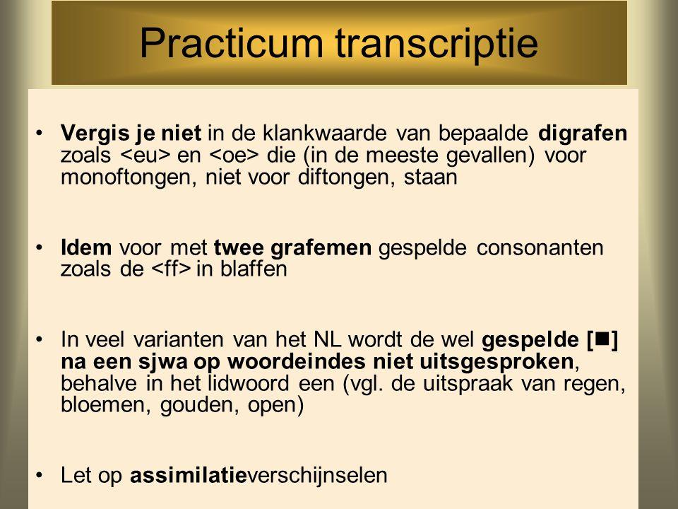 Practicum transcriptie