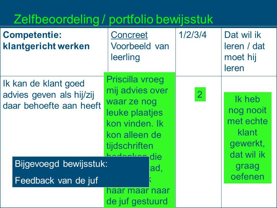 Zelfbeoordeling / portfolio bewijsstuk