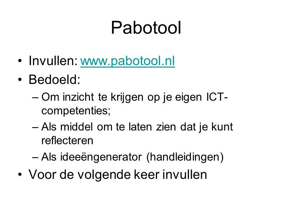 Pabotool Invullen: www.pabotool.nl Bedoeld: