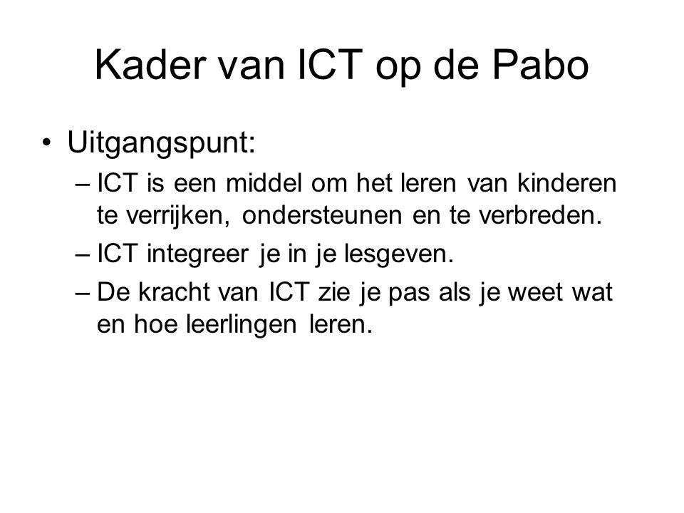Kader van ICT op de Pabo Uitgangspunt: