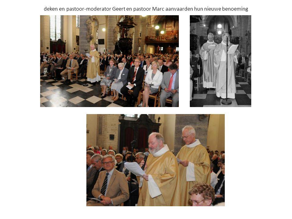 deken en pastoor-moderator Geert en pastoor Marc aanvaarden hun nieuwe benoeming
