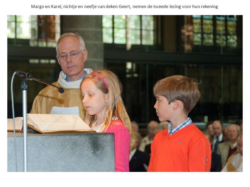 Margo en Karel, nichtje en neefje van deken Geert, nemen de tweede lezing voor hun rekening