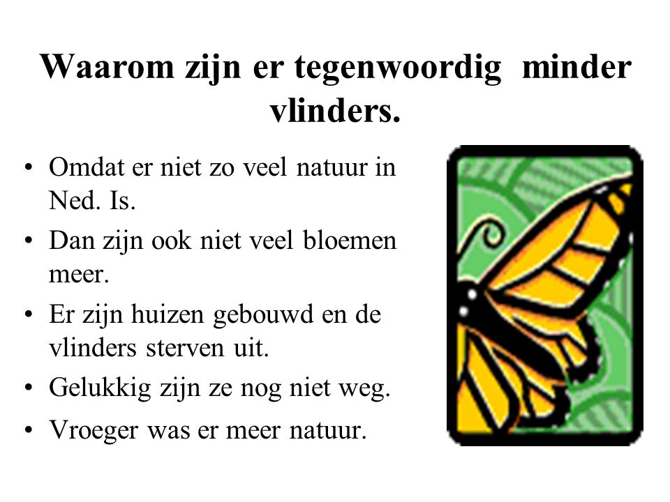 Waarom zijn er tegenwoordig minder vlinders.