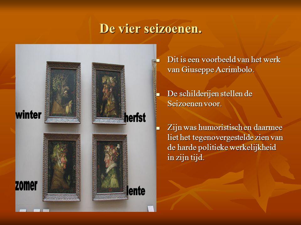 De vier seizoenen. Dit is een voorbeeld van het werk van Giuseppe Acrimbolo. De schilderijen stellen de Seizoenen voor.