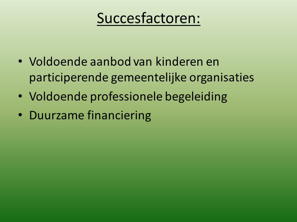 Succesfactoren: Voldoende aanbod van kinderen en participerende gemeentelijke organisaties. Voldoende professionele begeleiding.