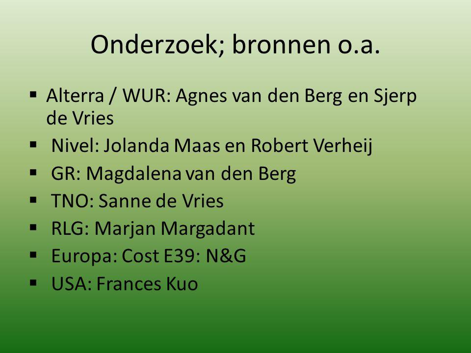 Onderzoek; bronnen o.a. Alterra / WUR: Agnes van den Berg en Sjerp de Vries. Nivel: Jolanda Maas en Robert Verheij.