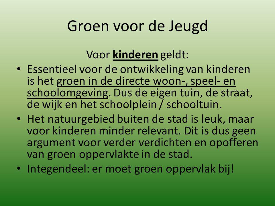 Groen voor de Jeugd Voor kinderen geldt: