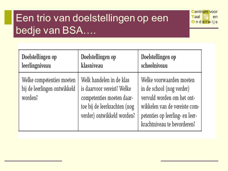 Een trio van doelstellingen op een bedje van BSA….