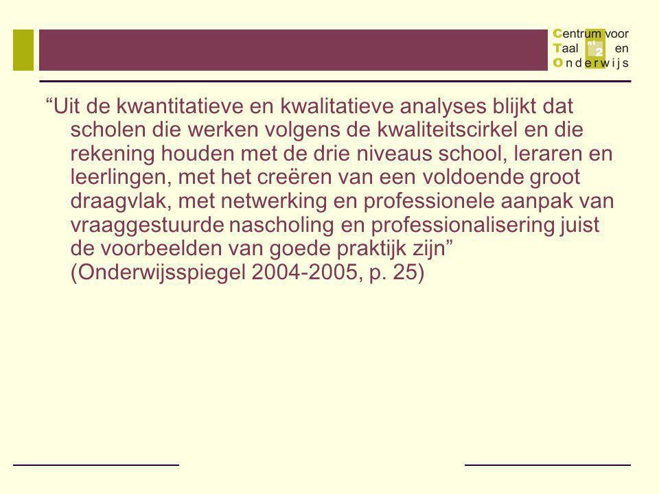 Uit de kwantitatieve en kwalitatieve analyses blijkt dat scholen die werken volgens de kwaliteitscirkel en die rekening houden met de drie niveaus school, leraren en leerlingen, met het creëren van een voldoende groot draagvlak, met netwerking en professionele aanpak van vraaggestuurde nascholing en professionalisering juist de voorbeelden van goede praktijk zijn (Onderwijsspiegel 2004-2005, p.