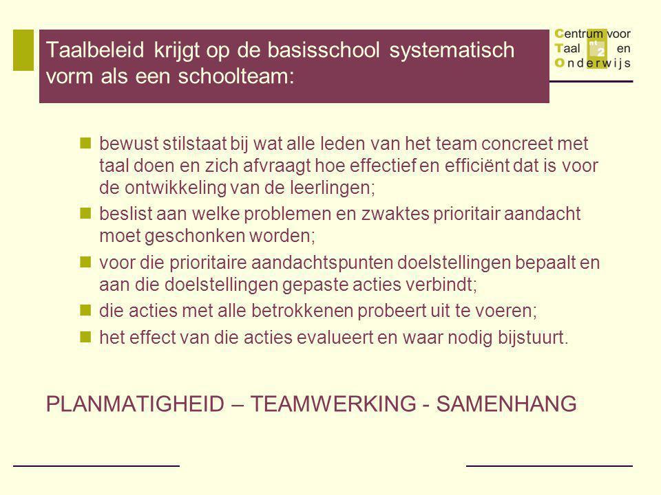PLANMATIGHEID – TEAMWERKING - SAMENHANG