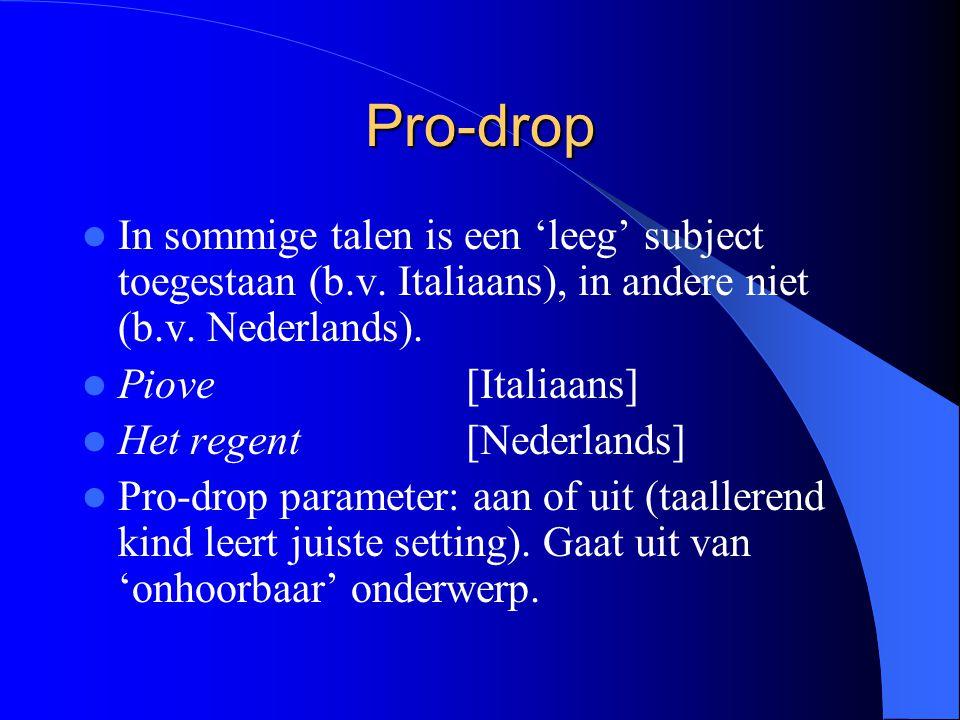 Pro-drop In sommige talen is een 'leeg' subject toegestaan (b.v. Italiaans), in andere niet (b.v. Nederlands).