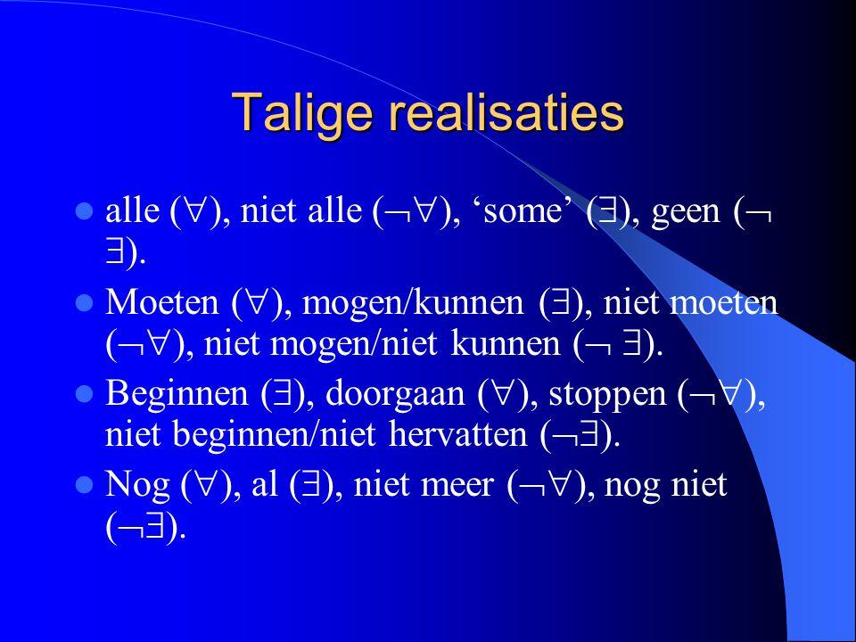 Talige realisaties alle (), niet alle (), 'some' (), geen ( ).
