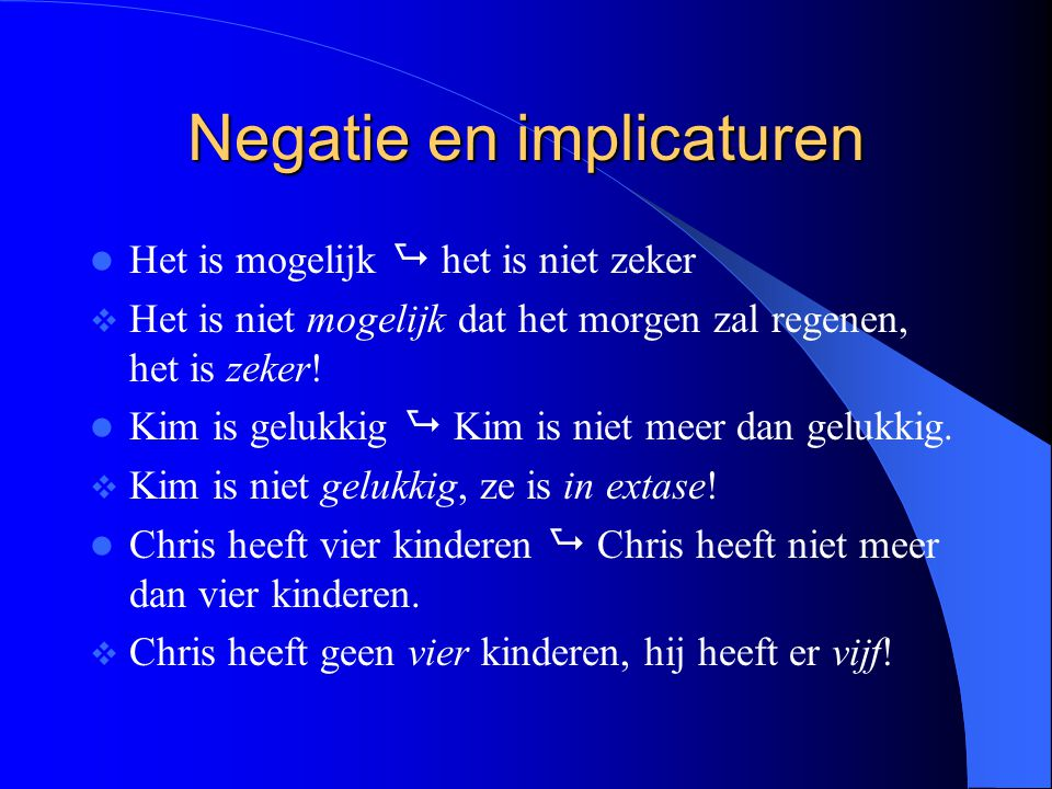 Negatie en implicaturen
