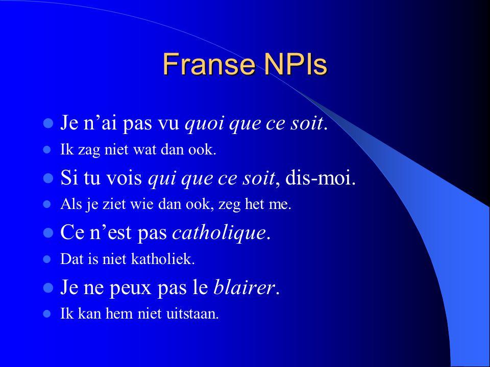 Franse NPIs Je n'ai pas vu quoi que ce soit.