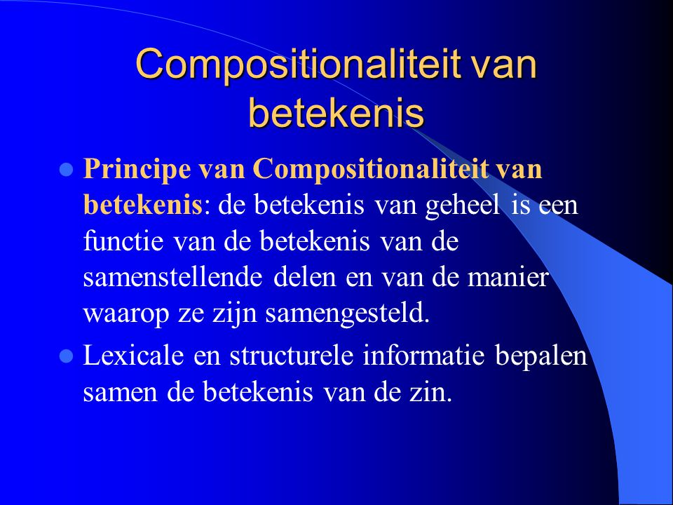 Compositionaliteit van betekenis