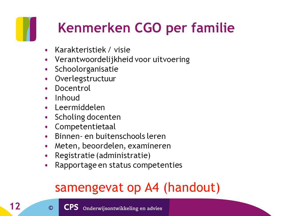 Kenmerken CGO per familie