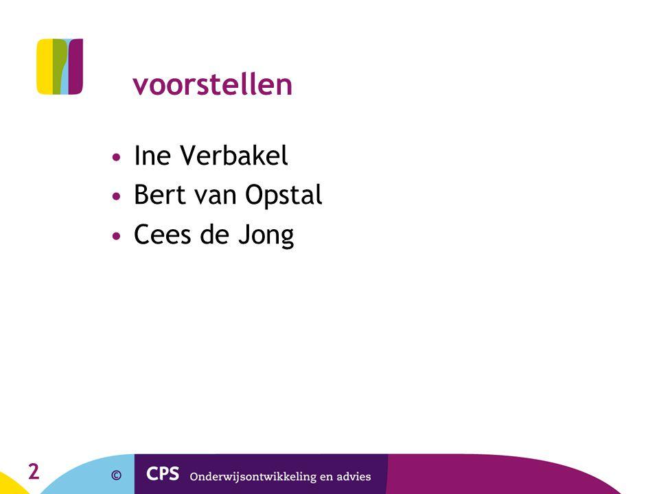 voorstellen Ine Verbakel Bert van Opstal Cees de Jong