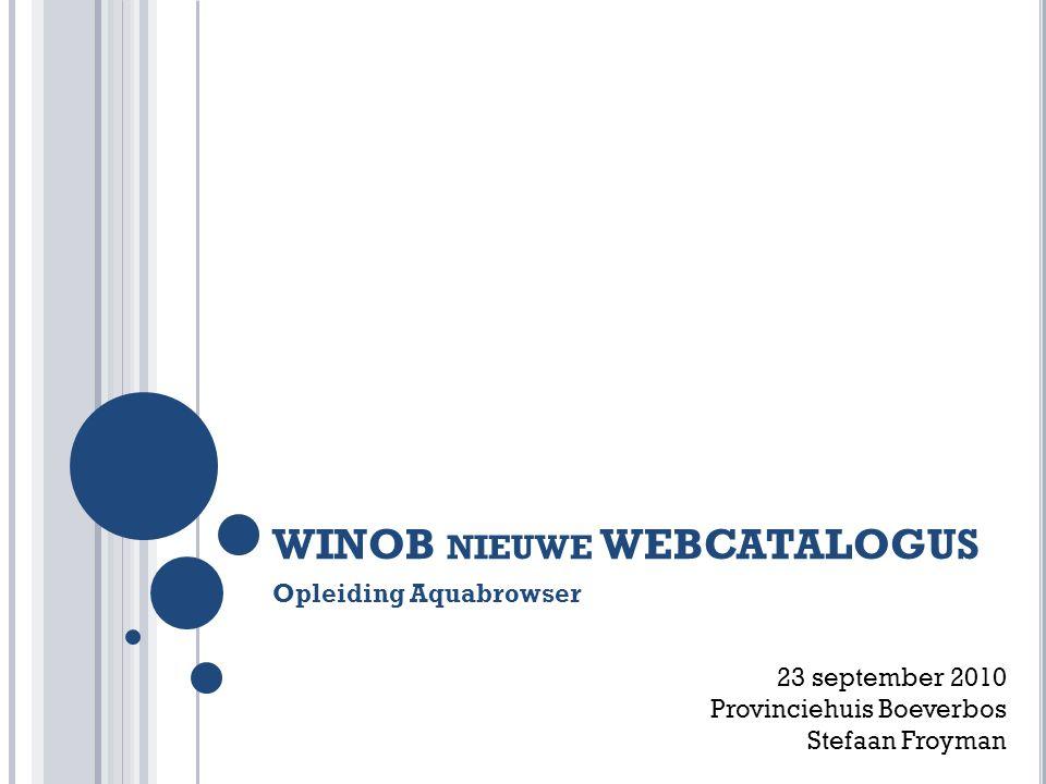 WINOB nieuwe WEBCATALOGUS