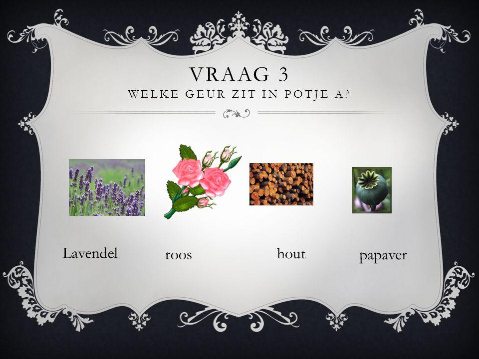 Vraag 3 Welke geur zit in potje A